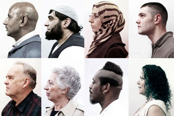 Eight profile photographs of peoples faces