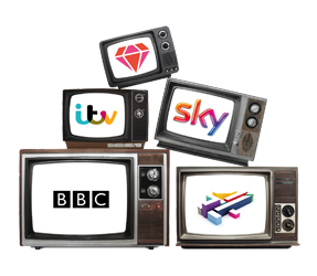 illustration of old television sets pilled up with channel logos on each one