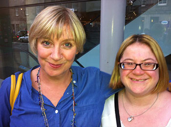 Victoria Wood and another woman smiling to camera