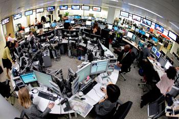 Birdseye view of a newsroom