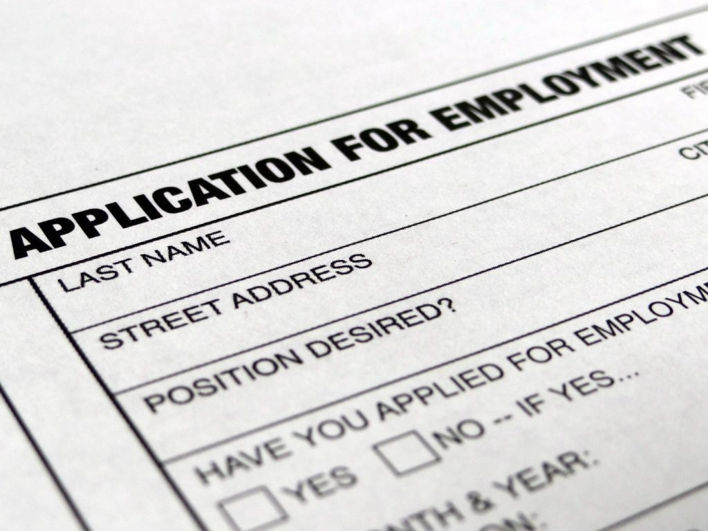 Photograph of job application form